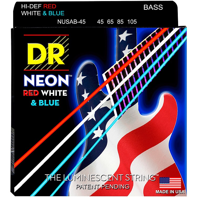 DR StringsHi-Def NEON Red, White & Blue Electric Bass 4-String Bass Strings(45-105)