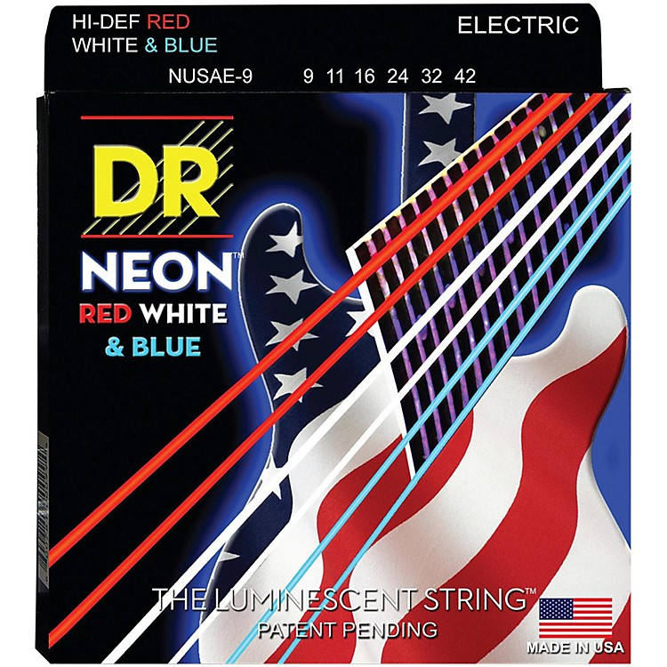 DR StringsHi-Def NEON Red, White & Blue Electric Guitar Lite Strings(9-42)