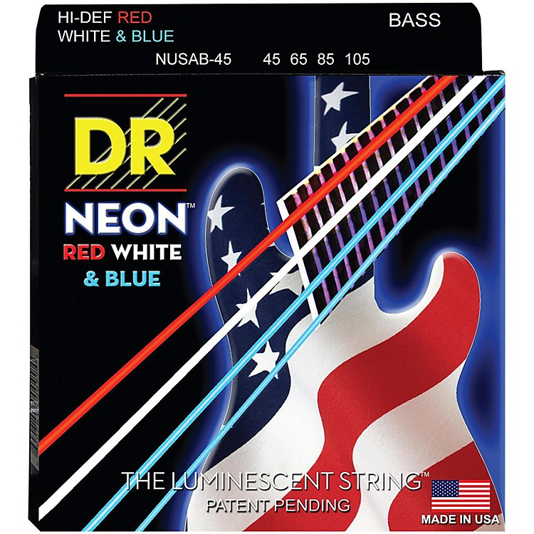 DR Strings Hi-Def NEON Red, White & Blue Electric Lite 4-String Bass Strings (40-100)