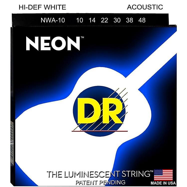 DR StringsHi-Def NEON White Coated Acoustic Guitar Strings Lite (10-48)
