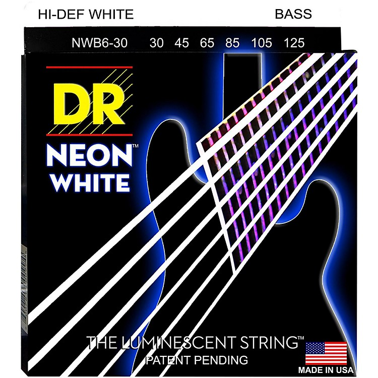 DR StringsHi-Def NEON White Coated Medium 6-String Bass Strings