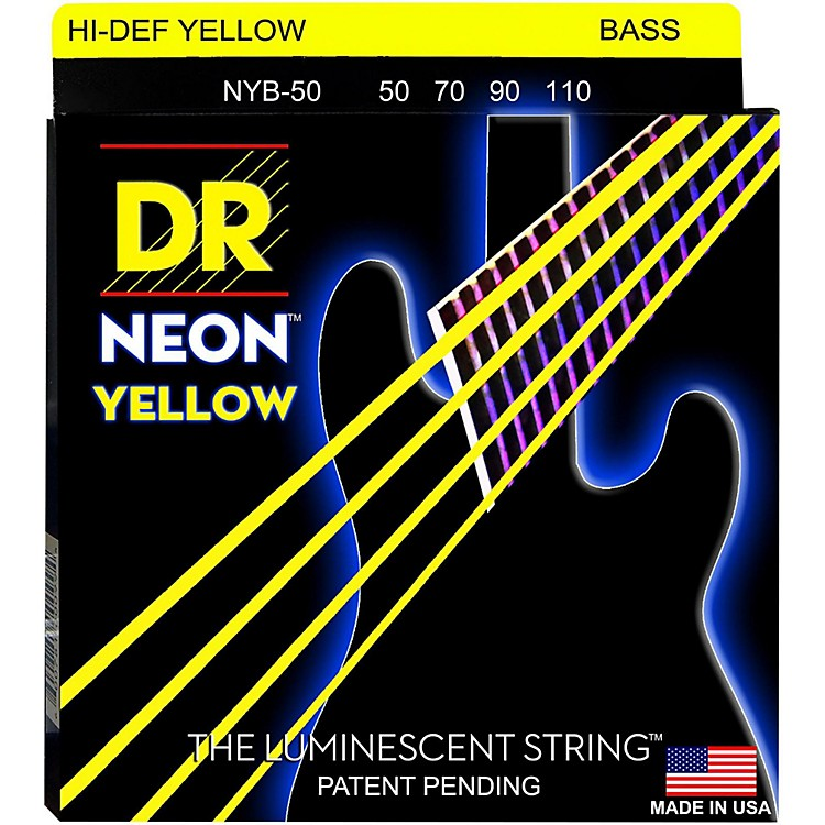 DR StringsHi-Def NEON Yellow Coated 4-String Bass Strings Heavy (50-110)