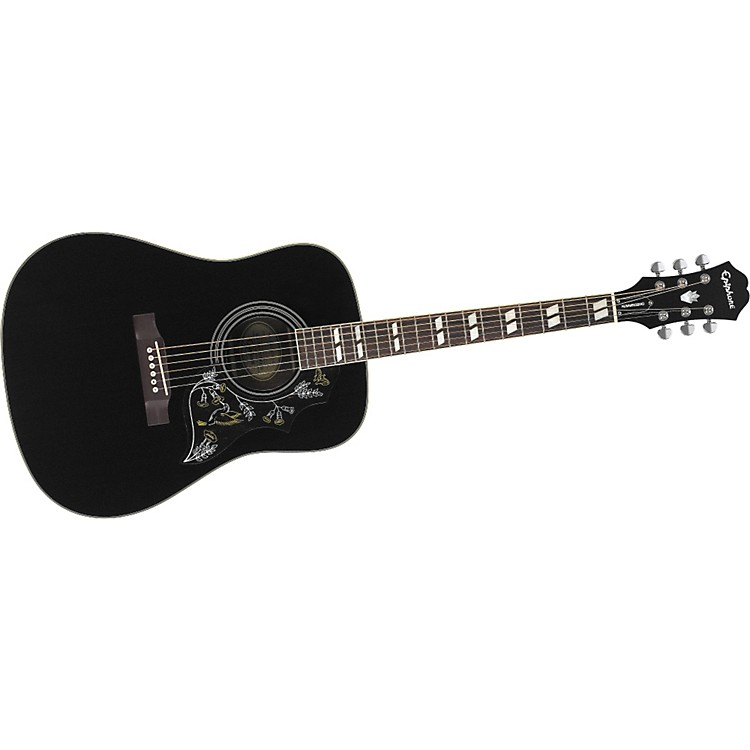 Epiphone Hummingbird Acoustic Guitar Ebony Chrome Hardware