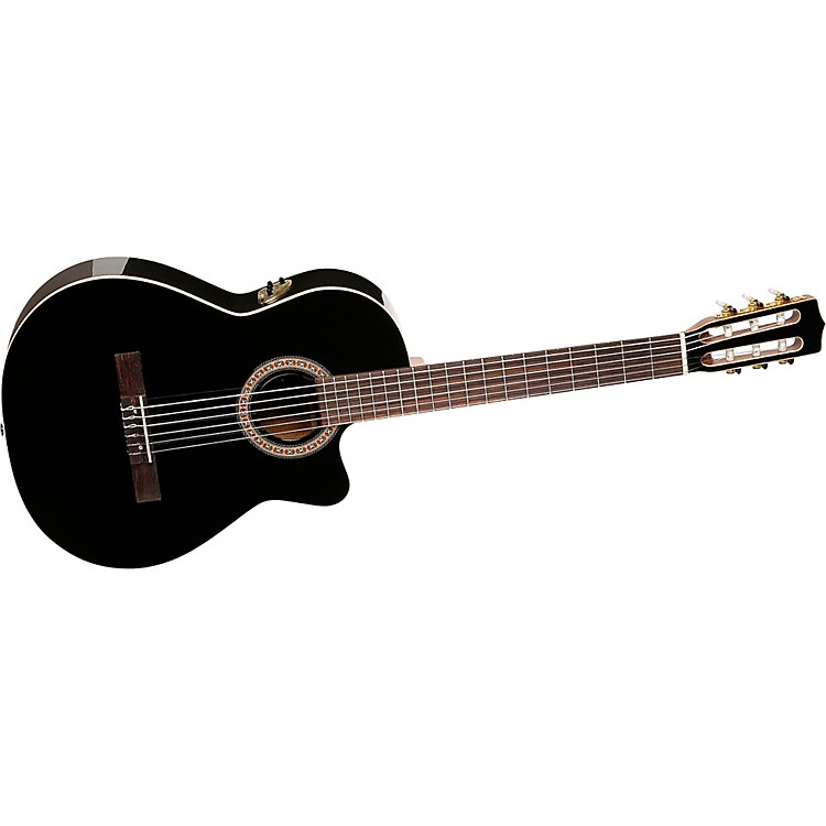La Patrie Hybrid CW Black Nylon String Guitar Black High GLoss