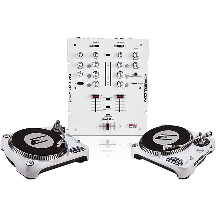EPSILONINNO-PROPAK DJT-1300 USB Turntable (2) and INNO-MIX2 Mixer (1)White