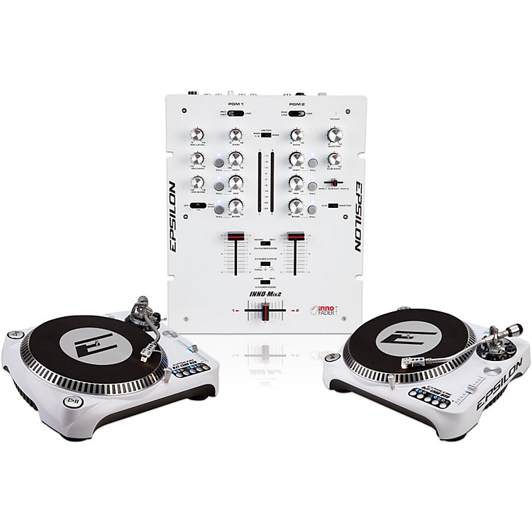 EPSILON INNO-PROPAK DJT-1300 USB Turntable (2) and INNO-MIX2 Mixer (1) White