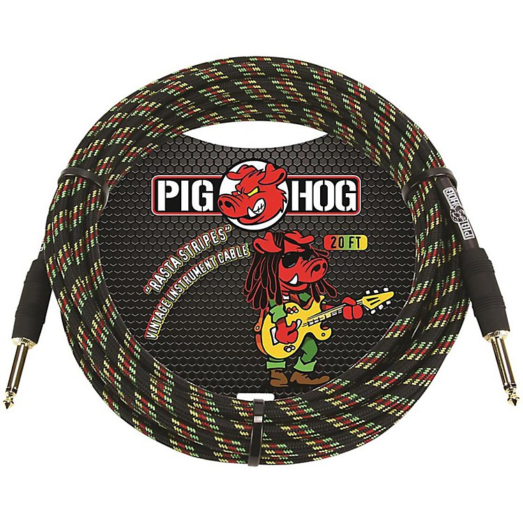 Pig Hog Instrument Cable 20 ft. Rasta Stripes