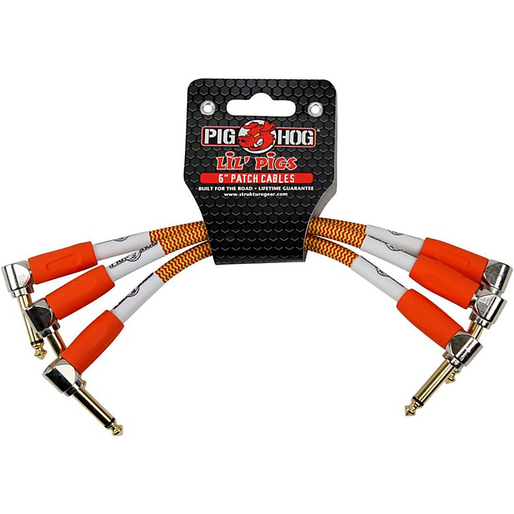 Pig HogInstrument Cables Lil Pigs 6 in. Patch Cables (3-Pack)Orange Cream