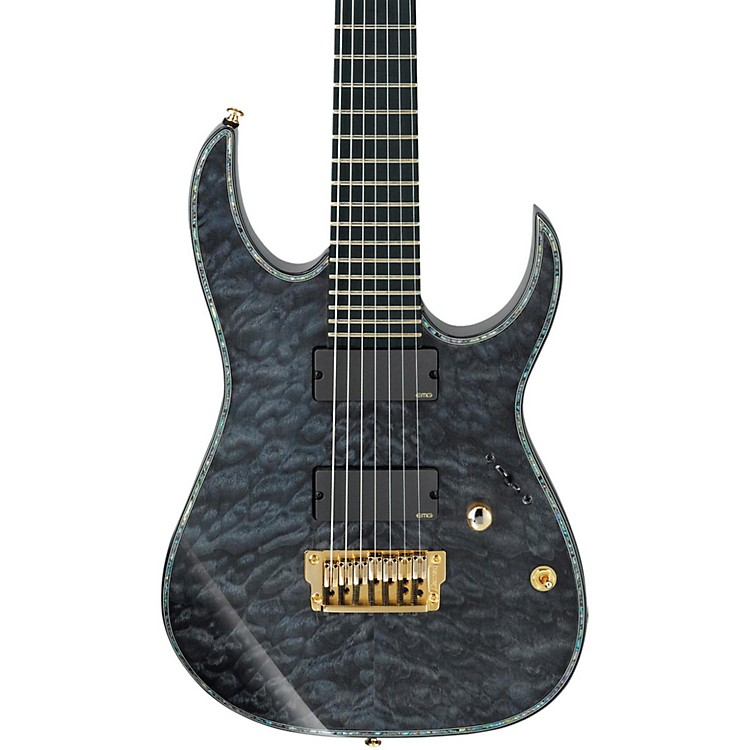 Ibanez Iron Label RG Series RGIX27FEQM 7-String Electric Guitar Trans Grey Quilted Maple