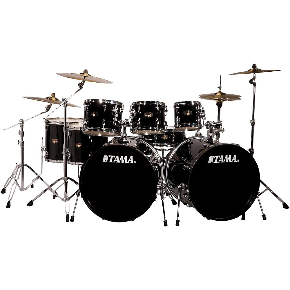 tama imperialstar 8 piece double bass drum set with meinl hcs cymbals black ebay. Black Bedroom Furniture Sets. Home Design Ideas