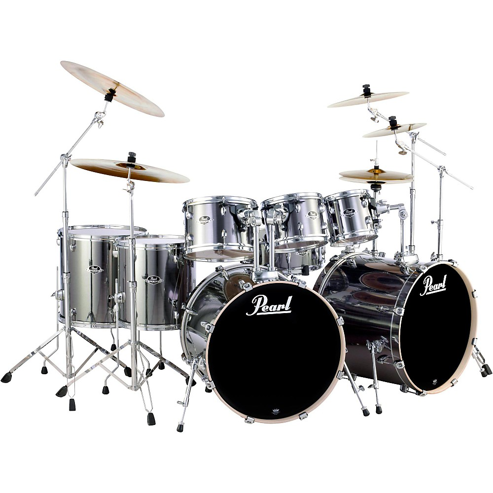Pearl Export Double Bass 8-Piece Drum Set Smokey Chrome | eBay