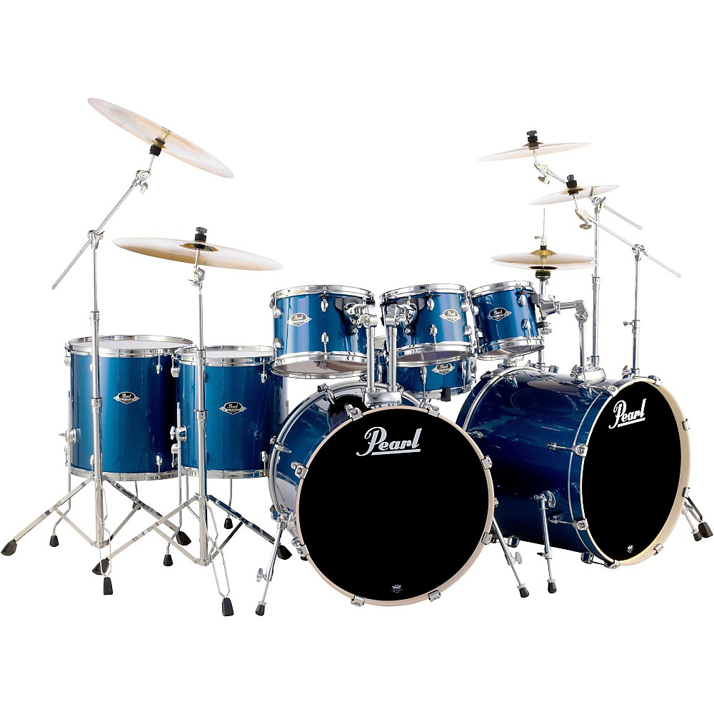 pearl export double bass 8 piece drum set electric blue sparkle ebay. Black Bedroom Furniture Sets. Home Design Ideas