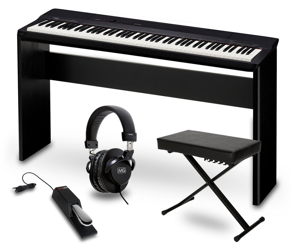 casio px 160bk digital piano w cs 67 stand sustain pedal dlx bench headphones ebay. Black Bedroom Furniture Sets. Home Design Ideas