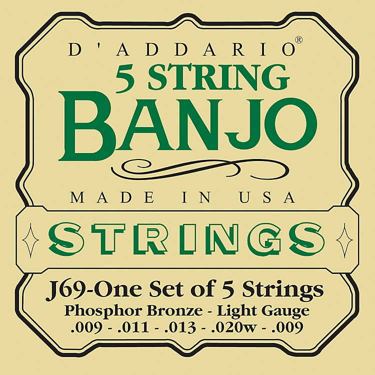D'Addario J69 5-String Banjo PB Light Loop Strings