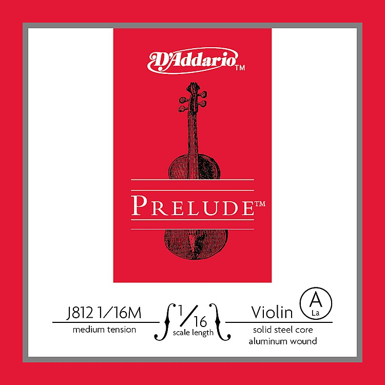 D'Addario J812 Prelude 1/16 Violin Single A String Aluminum Wound Medium