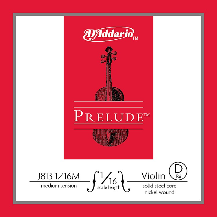 D'Addario J813 Prelude 1/16 Violin Single D String Nickel Wound Medium