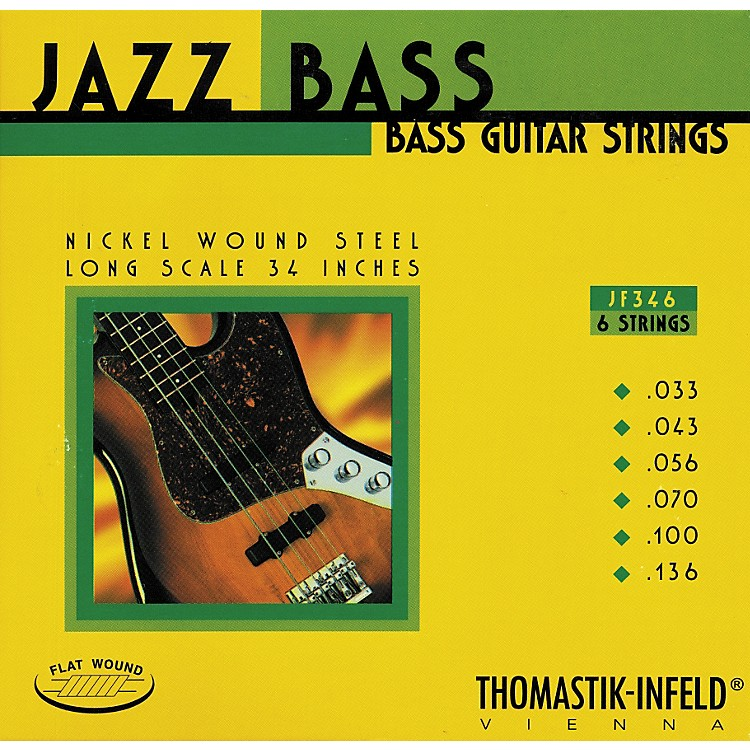 ThomastikJF346 Flatwound Scale 6-String Jazz Bass Strings