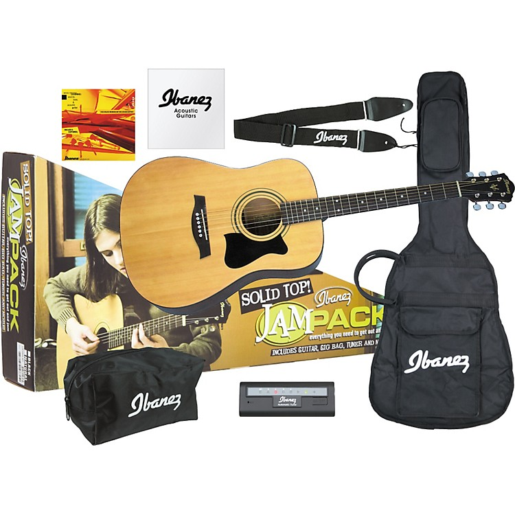 Ibanez JamPack Solid-Top Acoustic Guitar Pack Natural High Gloss