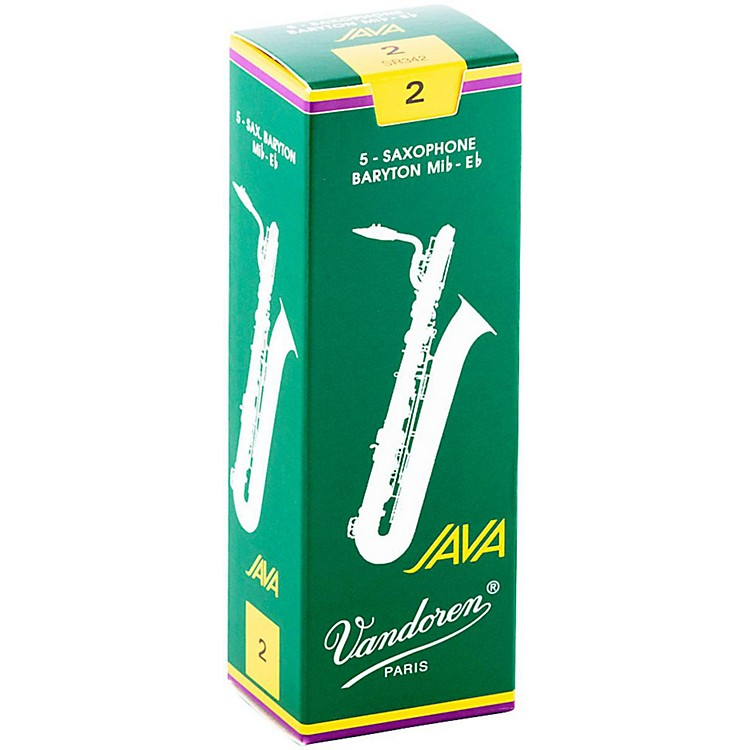 Vandoren Java Green Baritone Saxophone Reeds Strength - 2, Box of 5