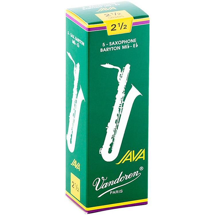 VandorenJava Green Baritone Saxophone ReedsStrength - 2.5, Box of 5