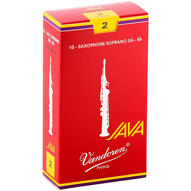 Vandoren Java Red Soprano Saxophone Reeds Strength 2, Box of 10