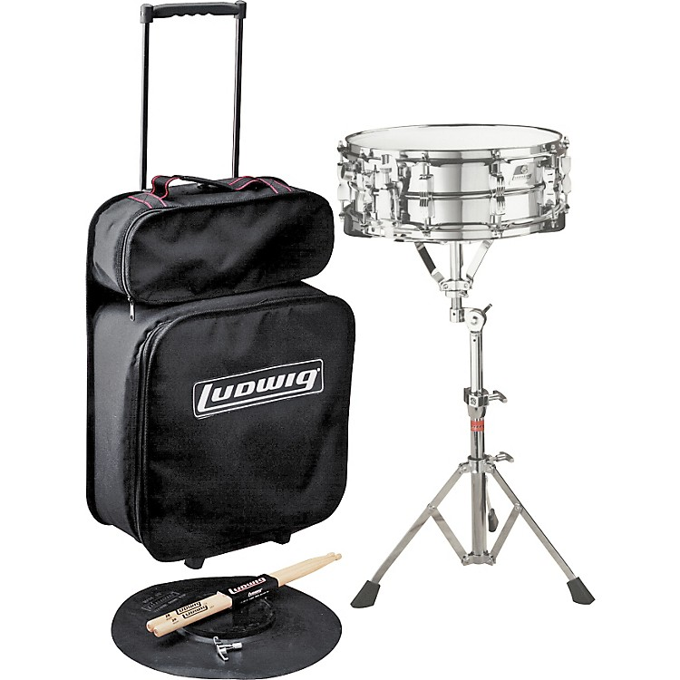 Ludwig Jet Pak Snare Drum Kit Concert Drums Le2474R (With Rolling Bag And Chrome Lm300 Snare)
