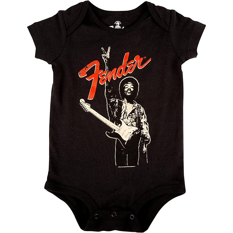 FenderJimi Hendrix Peace Sign OnesieBlack18-24 Month