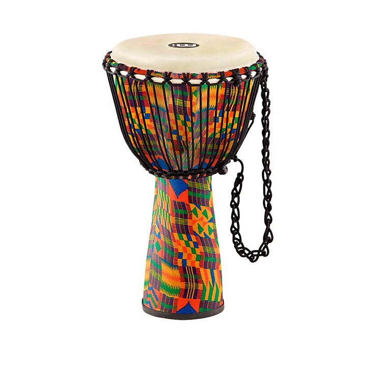 Meinl Journey Series Rope Tuned Fiberglass Goatskin Head Djembe Kenyan Quilt 10 in.
