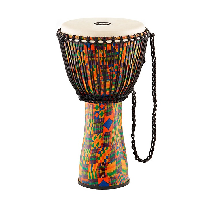 Meinl Journey Series Rope Tuned Fiberglass Goatskin Head Djembe Kenyan Quilt 12 in.