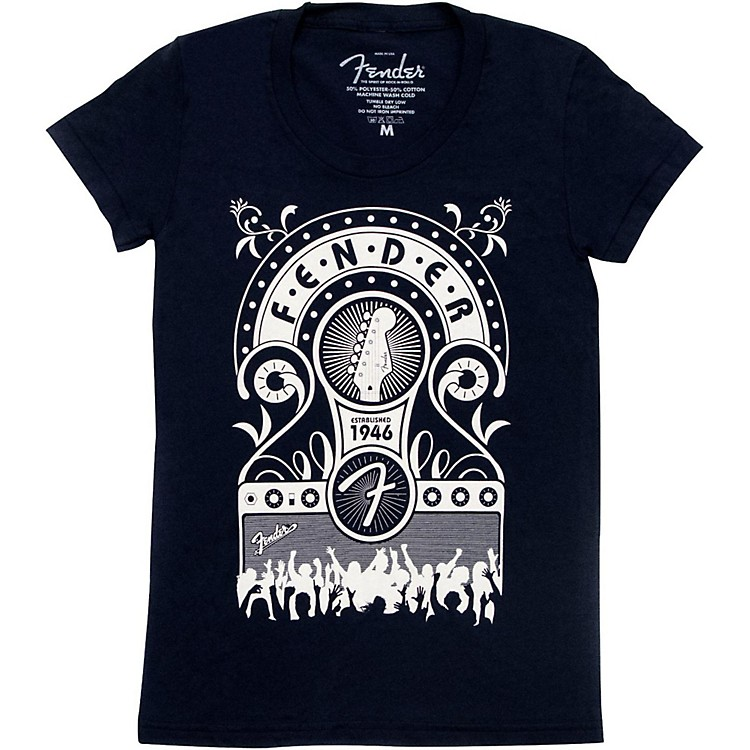 Fender Jukebox Ladies T-Shirt Navy Large