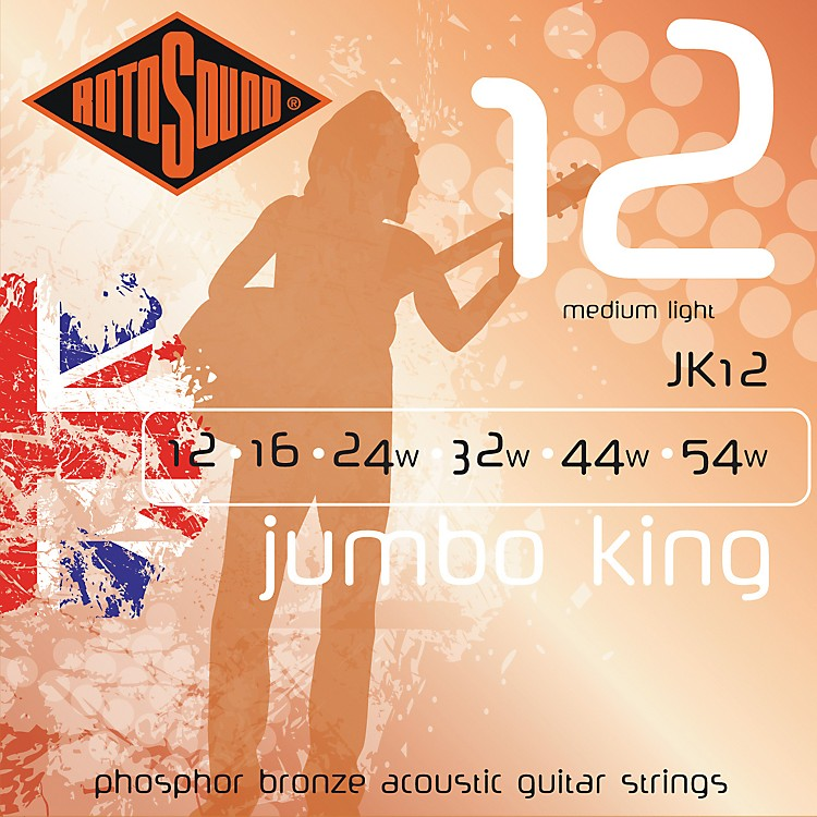 Rotosound Jumbo King Phosphor Bronze Acoustic Guitar Strings Medium Light