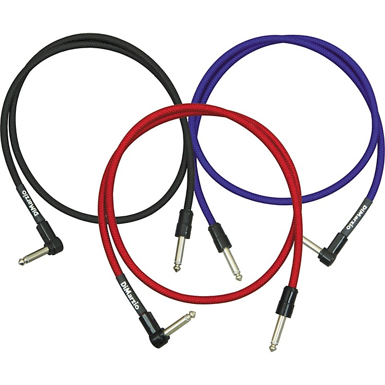 DiMarzio Jumper Cable Pedal Coupler Long Cable with 1 Straight and 1 Angled End Black 36 In