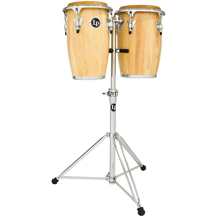 LP Junior Wood Congas with Chrome Hardware and Stand Natural