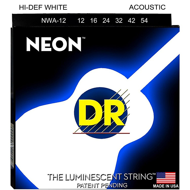 DR Strings K3 NEON Hi-Def White Acoustic Medium Guitar Strings