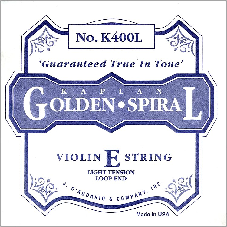 D'Addario K400H Kaplan Golden Spiral 4/4 Size Light Violin E String with Loop End