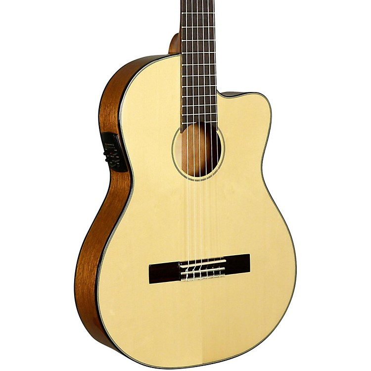 Kala KA-GTR-SMTN-E Thinline Nylon String Acoustic-Electric Guitar Natural