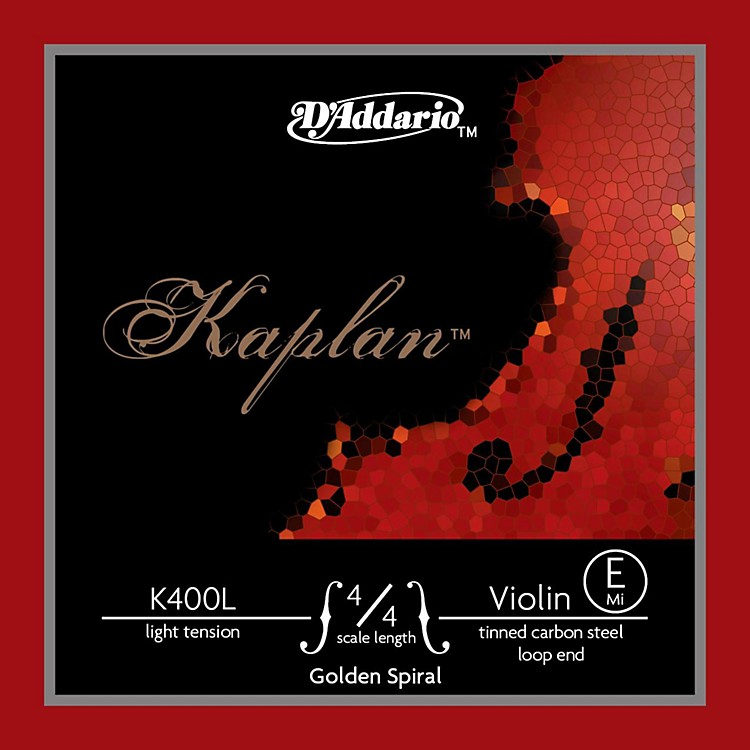 D'Addario Kaplan Golden Spiral Series Violin E String 4/4 Size Solid Steel Light Loop End