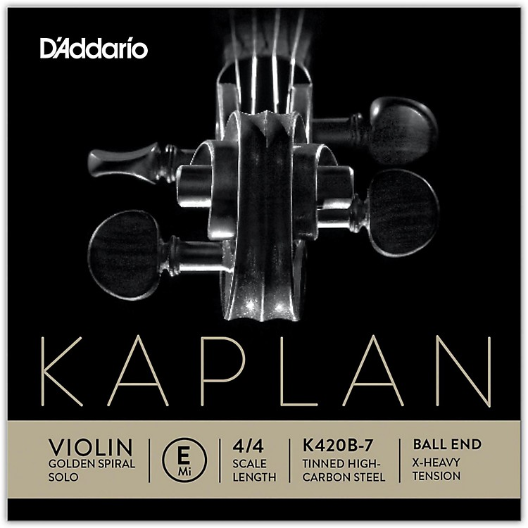 D'Addario Kaplan Golden Spiral Solo Series Violin E String 4/4 Size Solid Steel Extra Heavy Ball End
