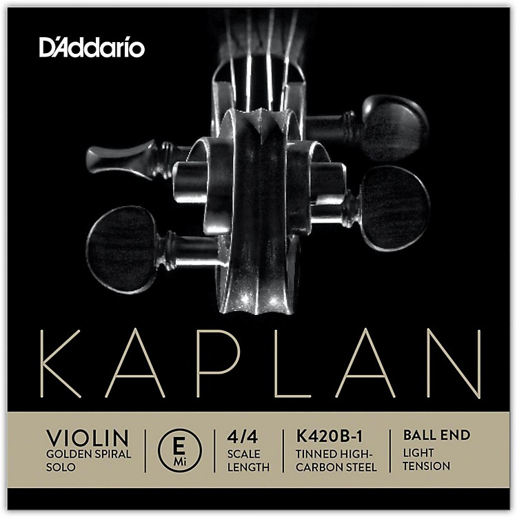 D'Addario Kaplan Golden Spiral Solo Series Violin E String 4/4 Size Solid Steel Light Ball End