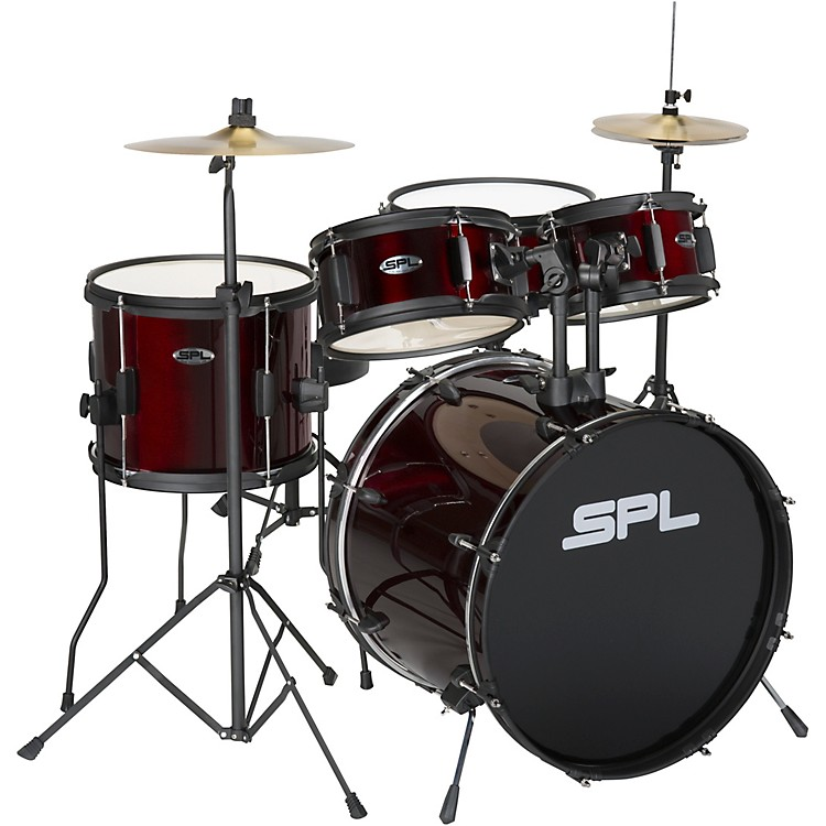 Sound Percussion Labs Kicker Pro - 5 Piece Drum Set with Stands, Cymbals, and Throne Wine Red