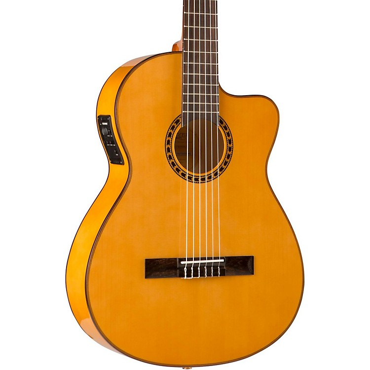 Lucero LFB250Sce Spruce/Cypress Thinline Acoustic-Electric Classical Guitar Natural