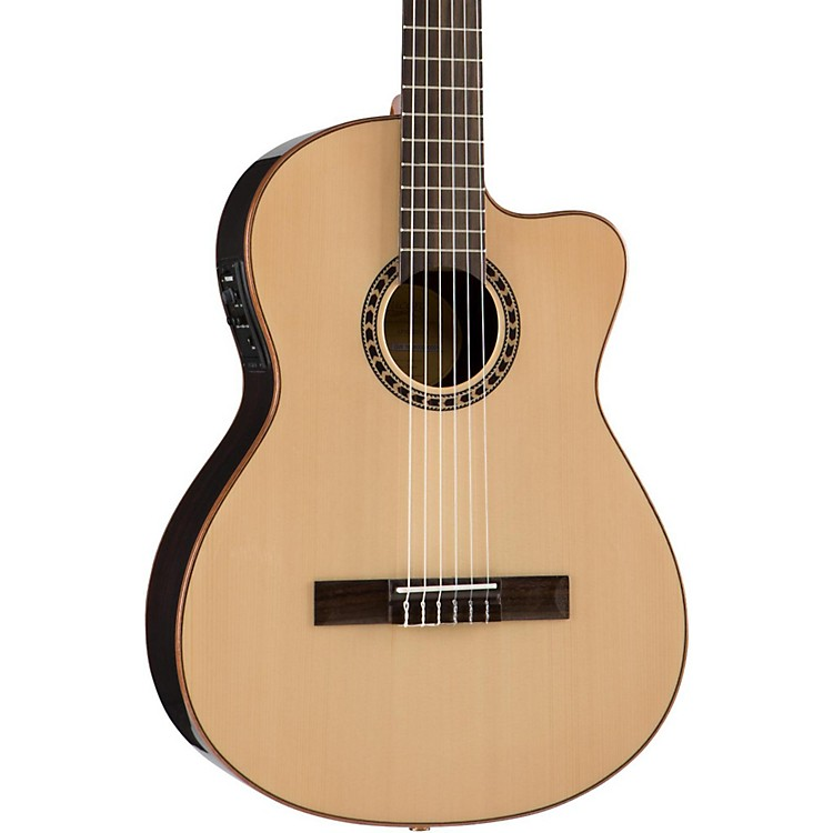 LuceroLFN200Sce Spruce/Rosewood Thinline Acoustic-Electric Classical GuitarNatural