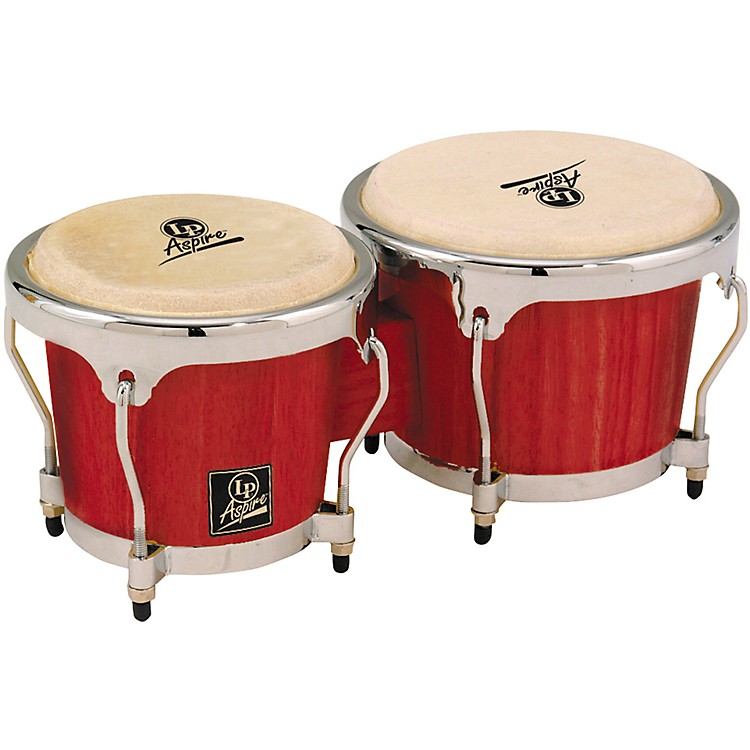 LP LPA601 Aspire Oak Bongos with Chrome Hardware Red Wood