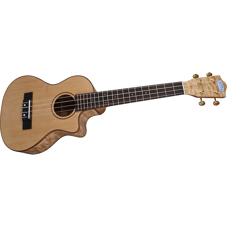 Lanikai LQA-TCA Quilt Ash Tenor Cutaway Acoustic-Electric Ukulele w/Fishman Preamp Satin Natural