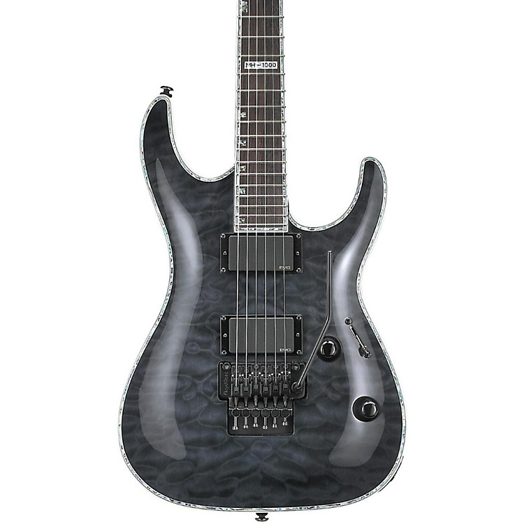 ESP LTD Deluxe MH-1000 Electric Guitar with EMGs See-Thru Black