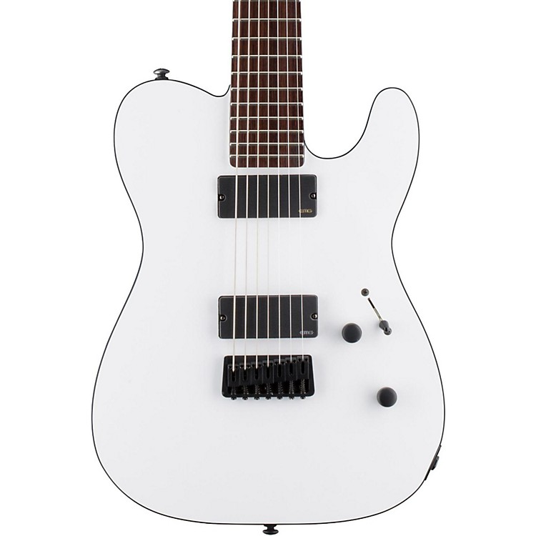 ESP LTD TE-407 7-String Electric Guitar Snow White Satin