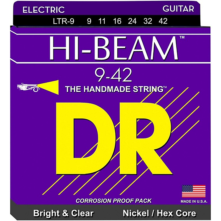 DR Strings LTR-9 Hi-Beam Nickel Light Electric Guitar Strings
