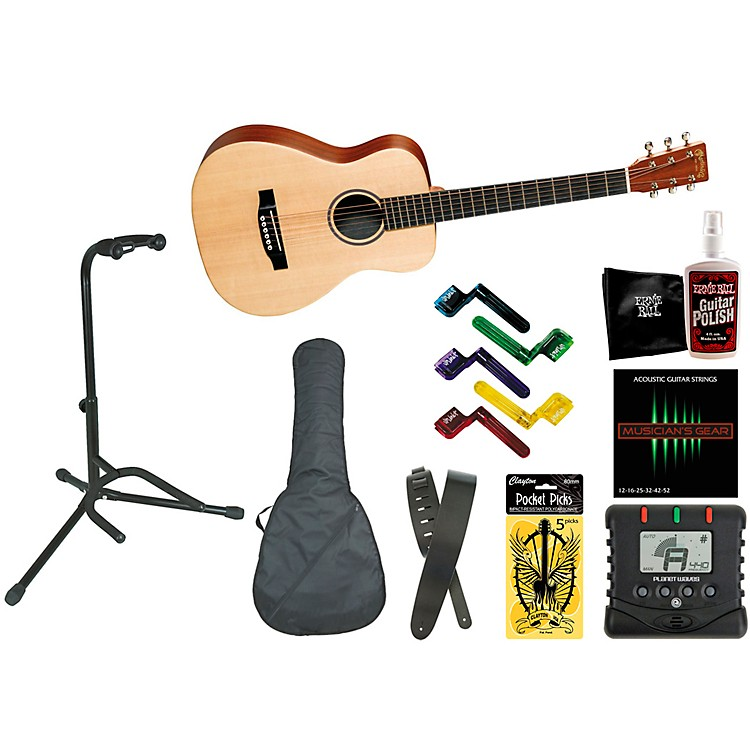 Martin LX1 Little Martin Acoustic Guitar Bundle with Gig Bag, Stand, and Accessories