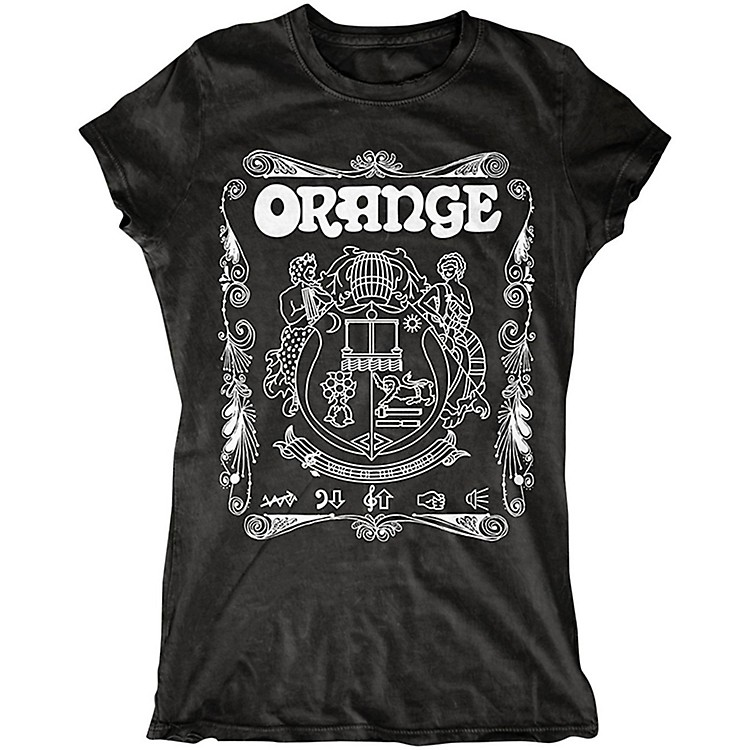 Orange Amplifiers Ladies Crest T-Shirt with White Crest Black Large