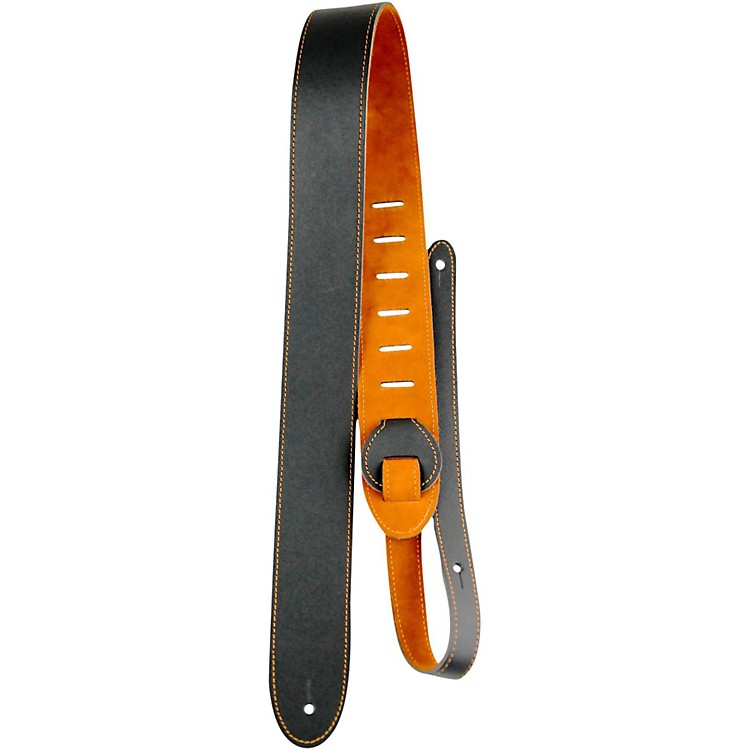 Perri's Leather Guitar Strap with Reversable Natural Suede Backing Black/Natural 2 in.